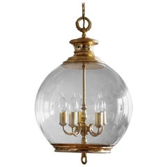 French Art Deco Brass Hand Blown Glass Five-Light Lantern or Chandelier, 1930s