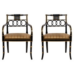 Regency Style Gilt Lacquer Ring Back Armchairs with Gold Seats