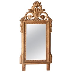 Regency Style Gold Foil Hand Carved Wooden Rectangular Mirror, 1970