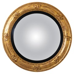 Regency Style Gold Giltwood Round Convex Carved Mirror