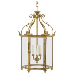 Regency Style Gold-Lacquered Brass Hall Lantern