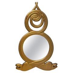 Regency Style Large Scale Giltwood Double Serpent Mirror, Pair Available