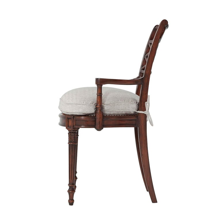 European Regency Style Lattice Back Armchair For Sale
