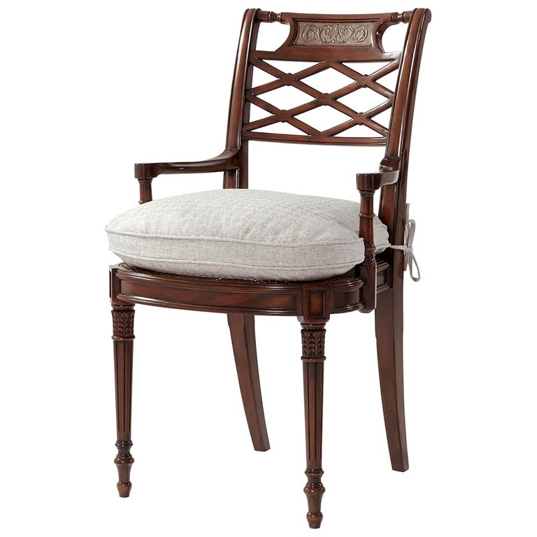 Regency Style Lattice Back Armchair For Sale