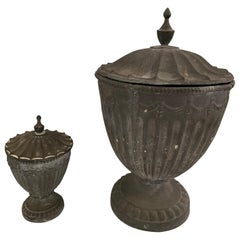 Regency Style Lidded Cast Iron Garden Urns Planters