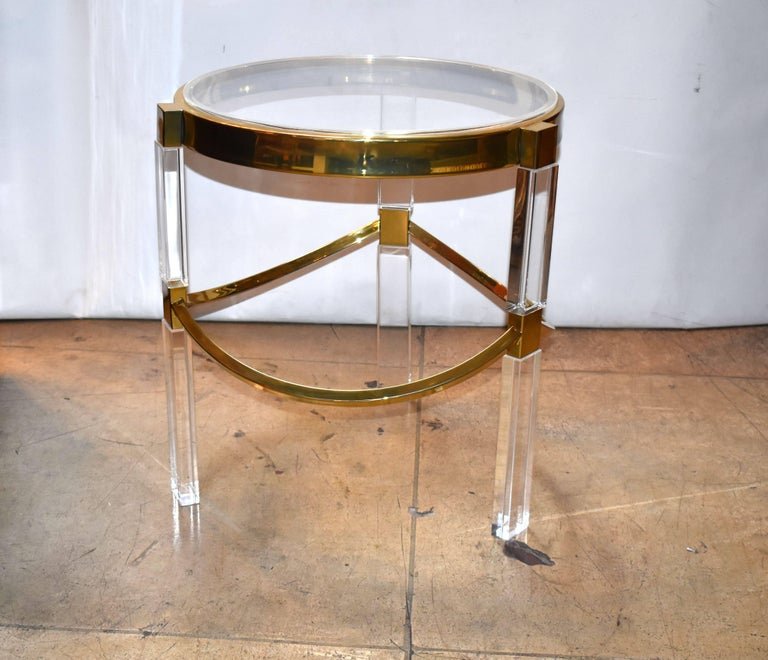 Regency Style Lucite and Brass Side Tables by Charles Hollis Jones In Excellent Condition For Sale In Los Angeles, CA