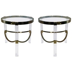 Regency Style Lucite and Brass Side Tables by Charles Hollis Jones