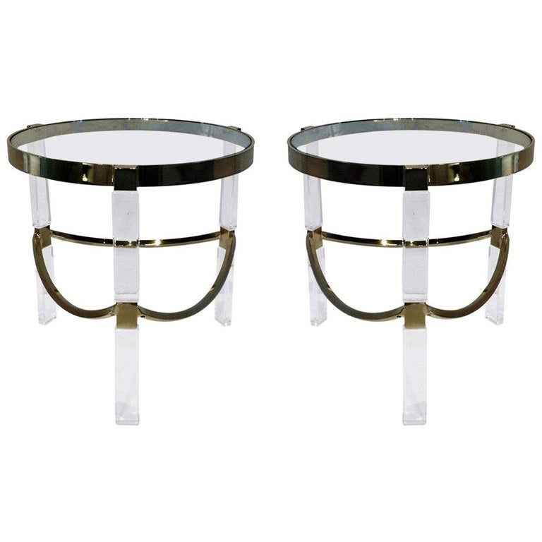 Regency Style Lucite and Brass Side Tables by Charles Hollis Jones For Sale