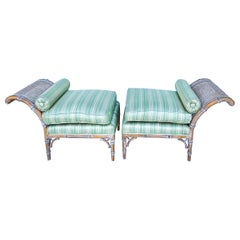 Regency Style Lymed Faux Bamboo Bench or Chaise