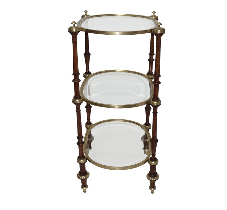 Regency Style Mahogany and Brass Three-Tier Table For Sale 4