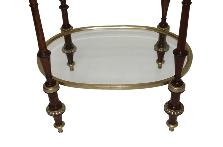 Beveled Regency Style Mahogany and Brass Three-Tier Table For Sale