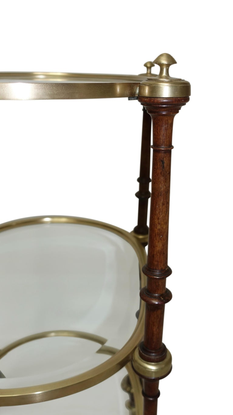 Mid-19th Century Regency Style Mahogany and Brass Three-Tier Table For Sale