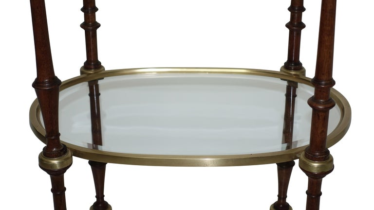Regency Style Mahogany and Brass Three-Tier Table For Sale 2