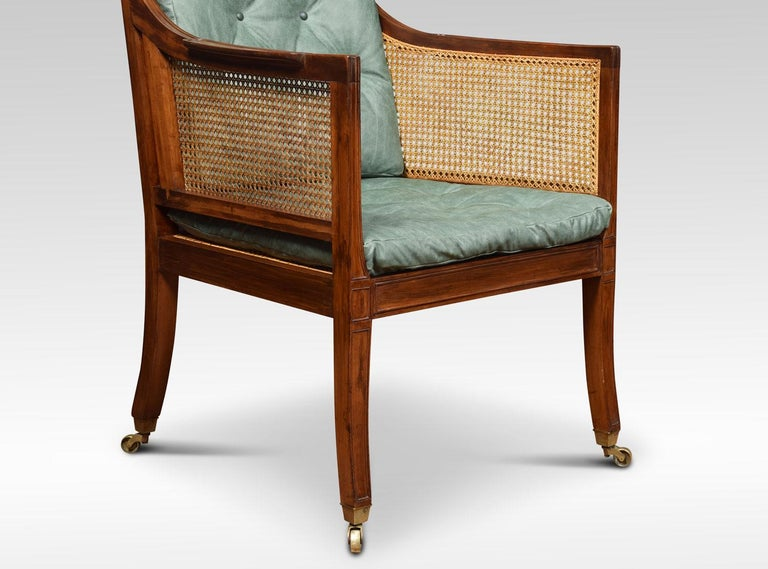 Regency Style Mahogany Bergère Armchair In Excellent Condition For Sale In Cheshire, GB
