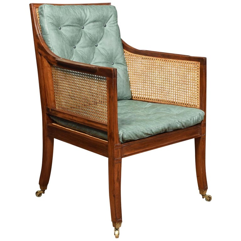 Regency Style Mahogany Bergère Armchair For Sale