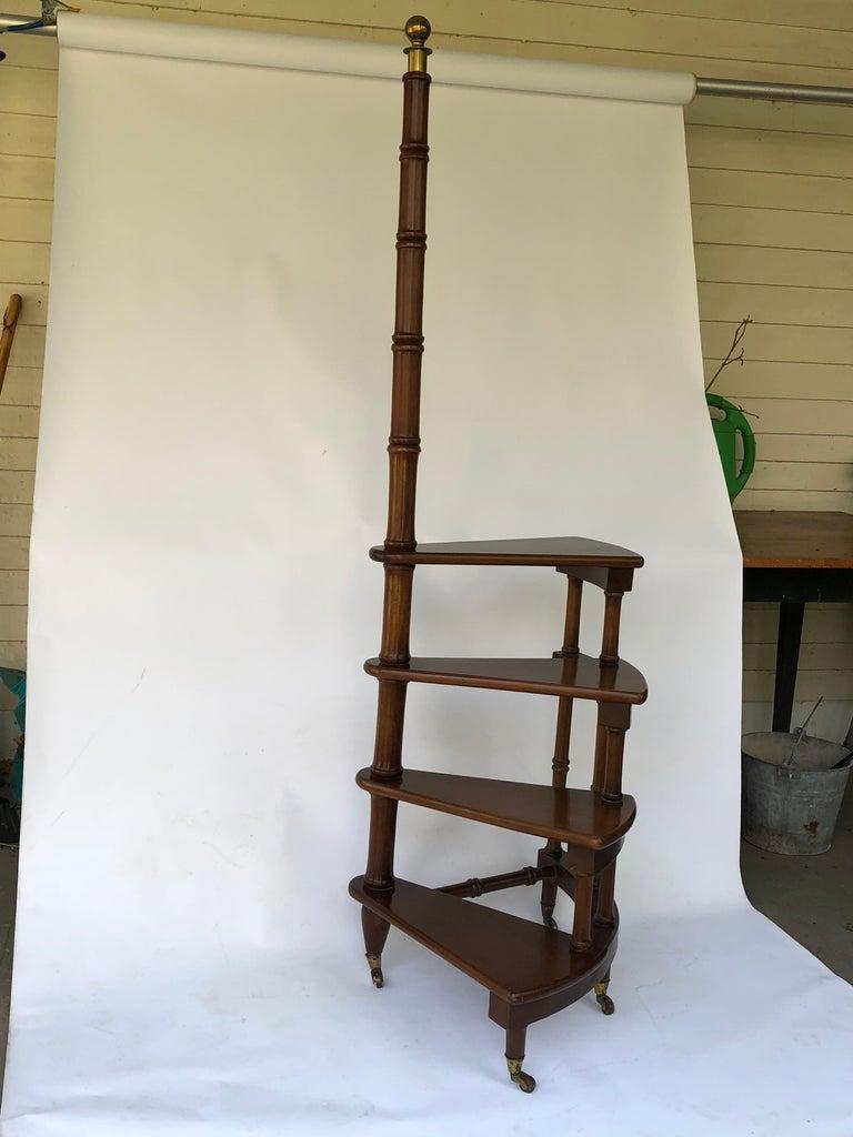 Mahagoni Bibliotheks Leiter Oder Stufen Im Regency Stil Bei 1stdibs
