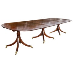 Regency Style Mahogany Three Pedestal Dining Table