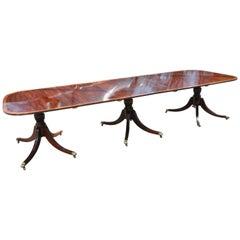 Regency Style Mahogany Three Pedestal Dining Table