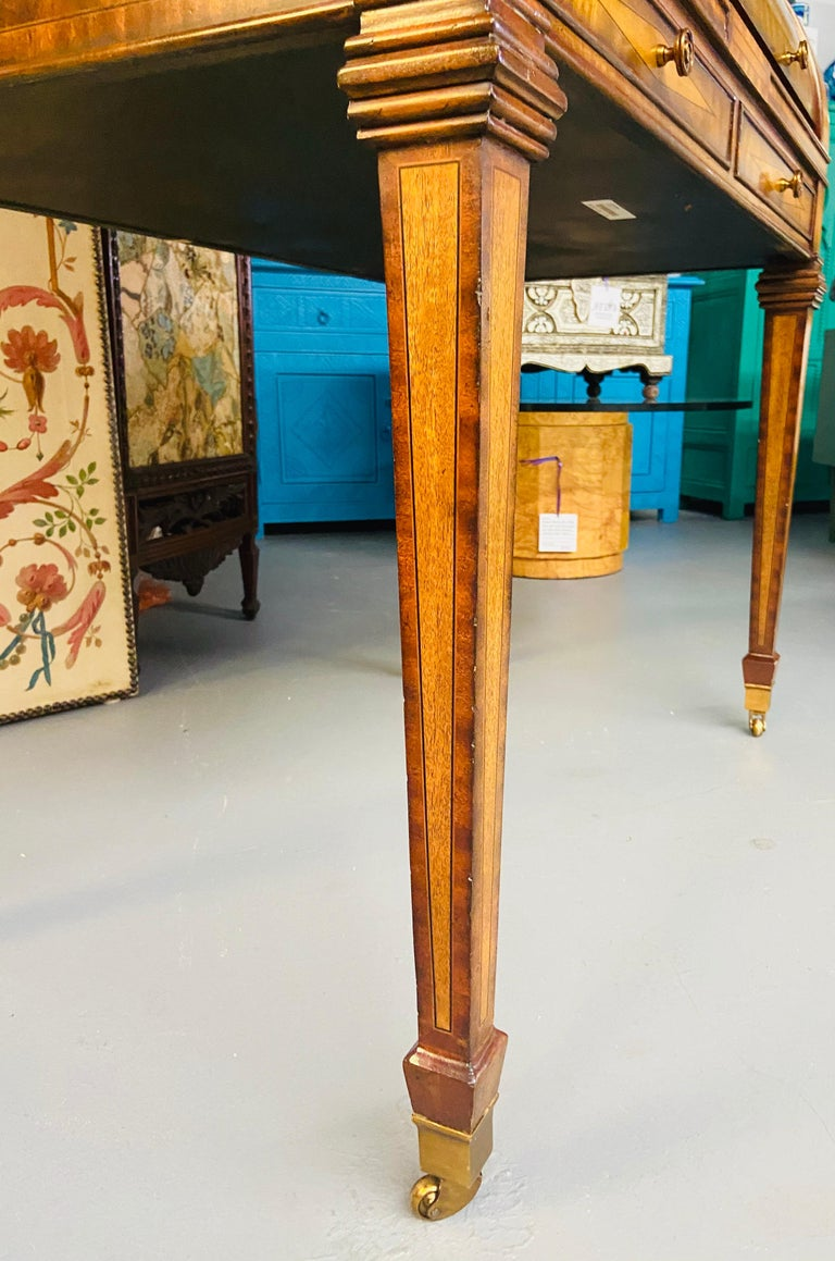 Regency Style Maitland Smith Flame Mahogany Burl Two Part Secretary Desk For Sale 6