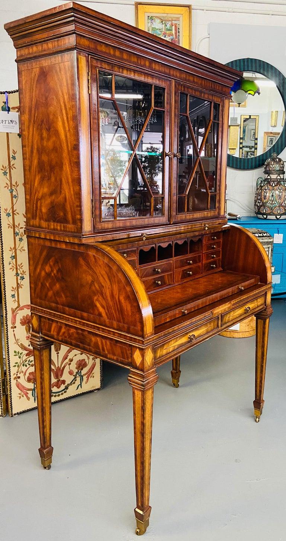 Regency Style Maitland Smith Flame Mahogany Burl Two Part Secretary Desk For Sale 8