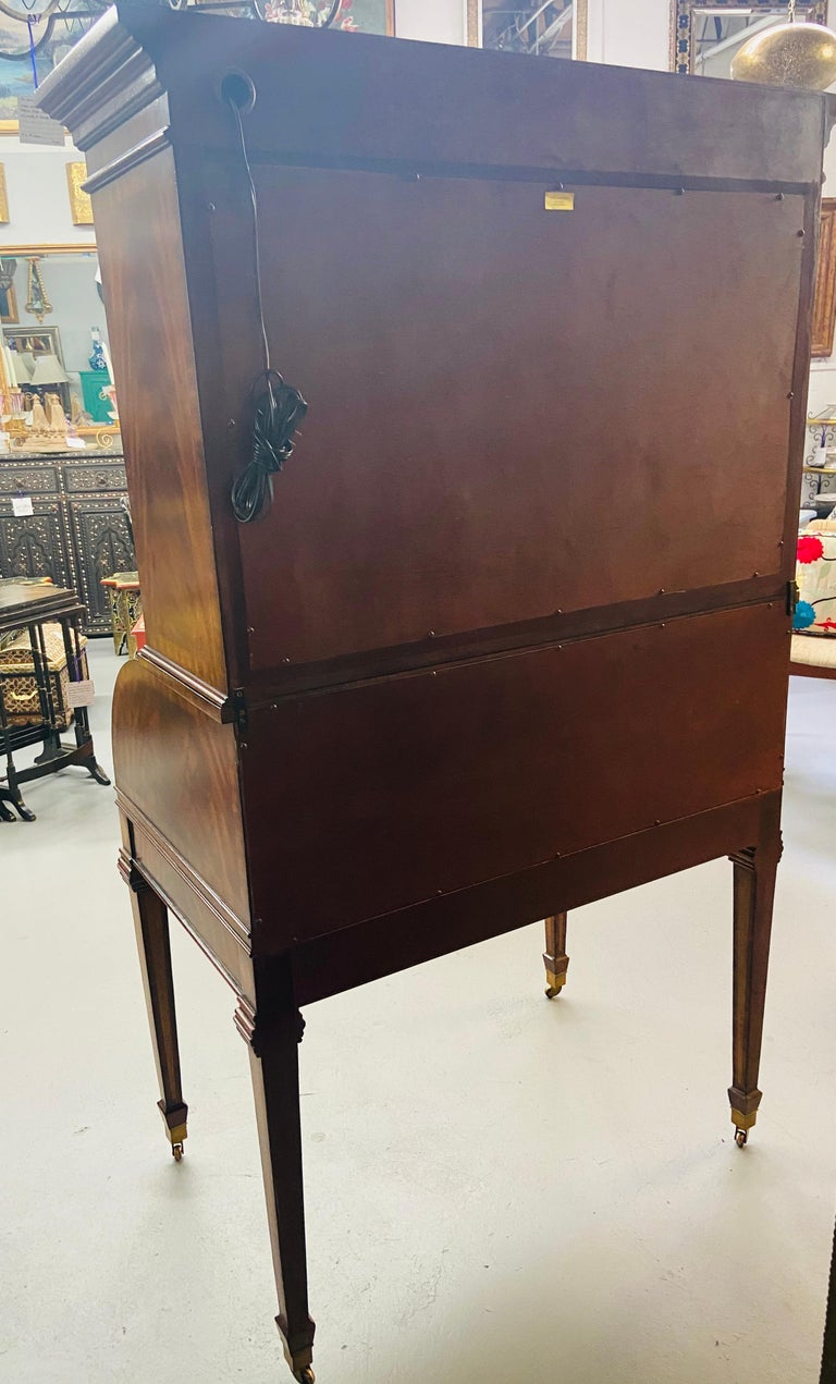 Regency Style Maitland Smith Flame Mahogany Burl Two Part Secretary Desk For Sale 9