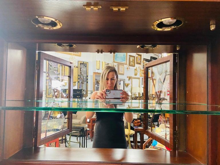 Regency Style Maitland Smith Flame Mahogany Burl Two Part Secretary Desk For Sale 14