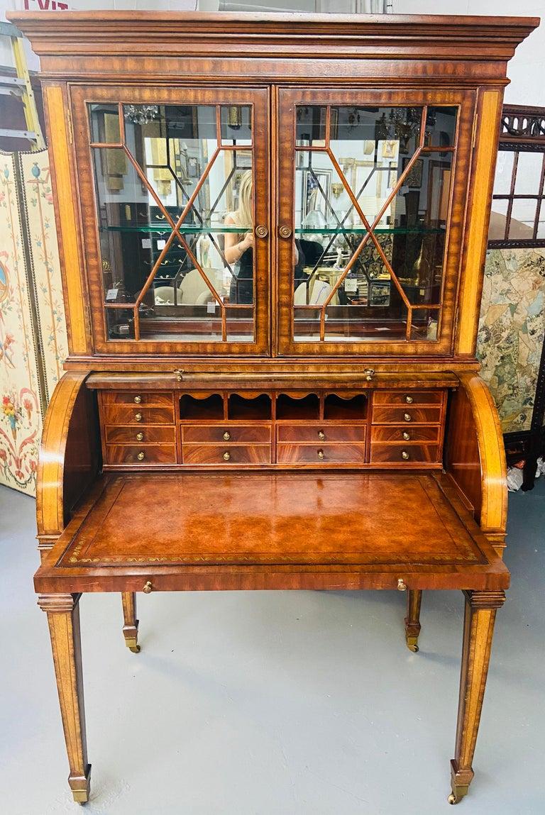 Philippine Regency Style Maitland Smith Flame Mahogany Burl Two Part Secretary Desk For Sale