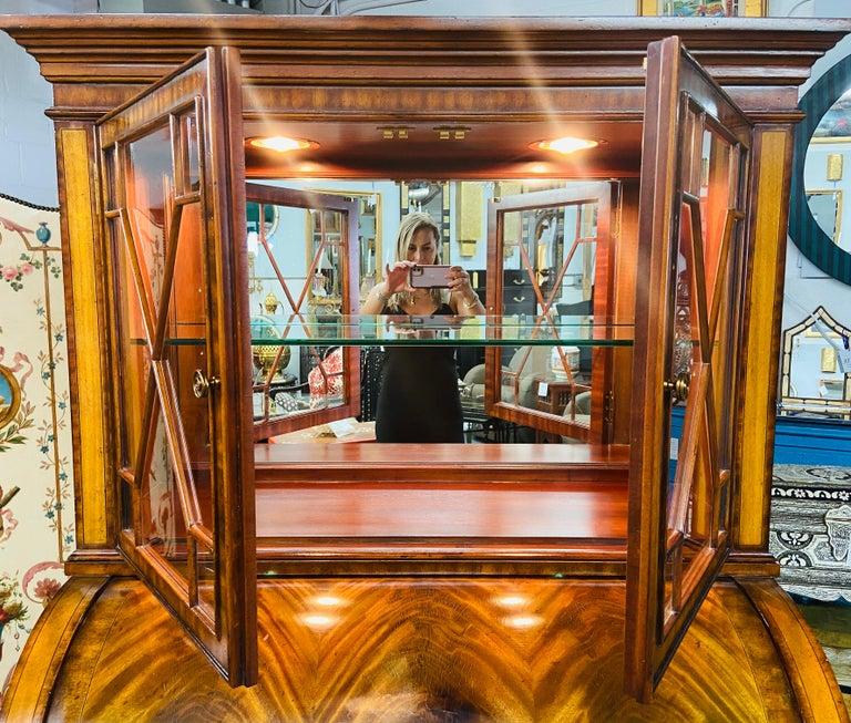 Late 20th Century Regency Style Maitland Smith Flame Mahogany Burl Two Part Secretary Desk For Sale