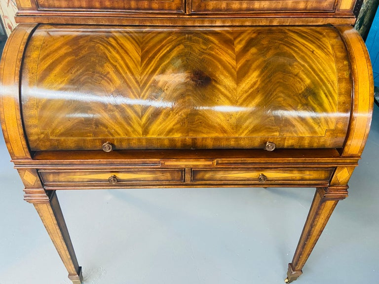 Brass Regency Style Maitland Smith Flame Mahogany Burl Two Part Secretary Desk For Sale