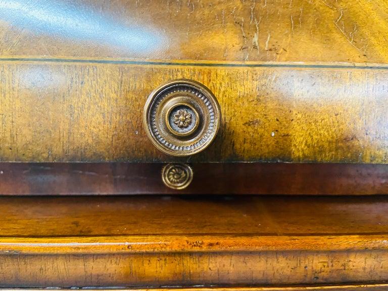 Regency Style Maitland Smith Flame Mahogany Burl Two Part Secretary Desk For Sale 1