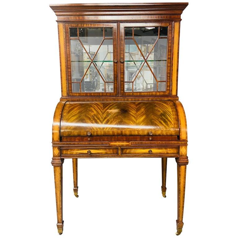 Regency Style Maitland Smith Flame Mahogany Burl Two Part Secretary Desk For Sale