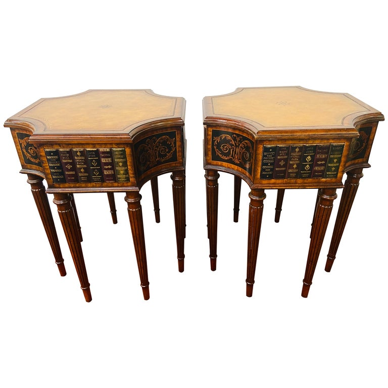 Regency Style Maitland Smith Mahogany and Leather Library Book Table, a Pair For Sale