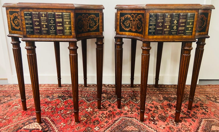 Philippine Regency Style Maitland Smith Mahogany and Leather Library Book Table, a Pair For Sale
