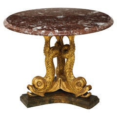 Regency Style Marble and Gilt Gesso Dolphin Center Table