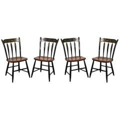 Regency Style Parcel Ebonized Painted Chairs