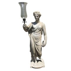 Regency Style Plaster Figural Maiden with Candleholder and Globe