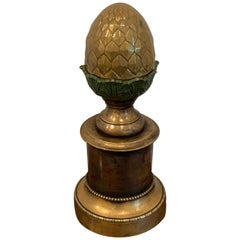 Regency Style Polychromed Acorn Motif Newel Post