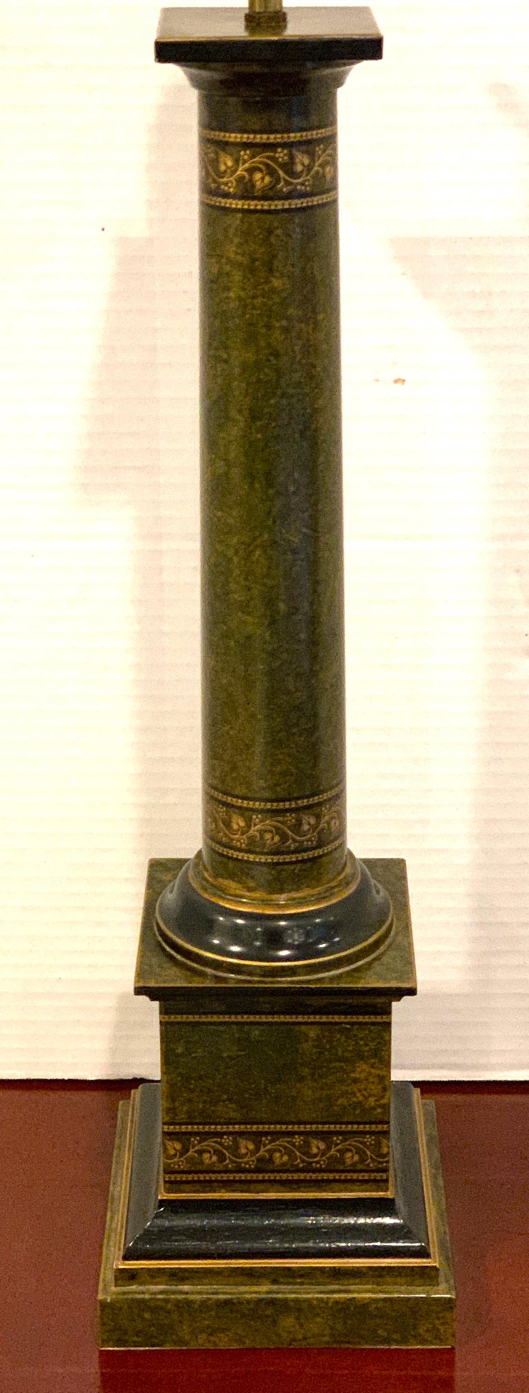 English Regency Style Polychromed Tole Column Lamp For Sale