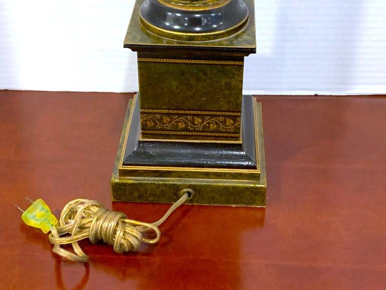 Metal Regency Style Polychromed Tole Column Lamp For Sale