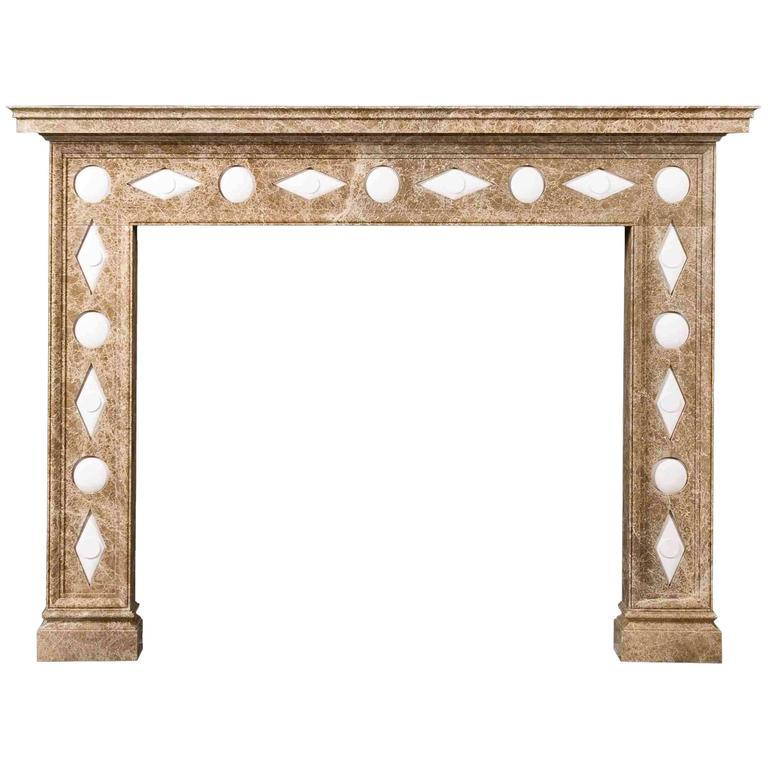 Carved Regency Style Reproduction Mantel in Light Emperador Marble and Limestone For Sale