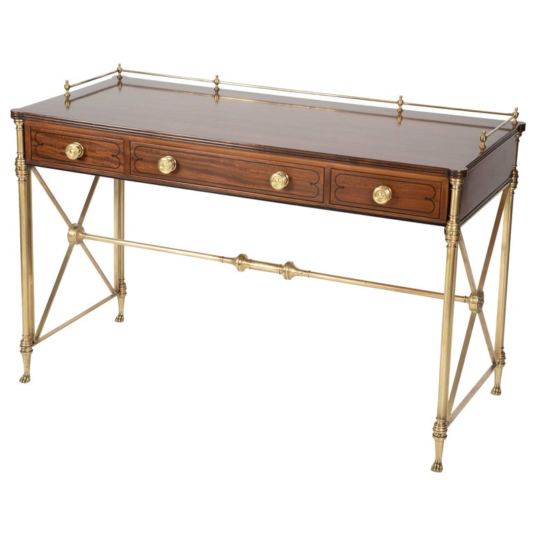Regency Style Rosewood And Bronze Campaign Desk For Sale