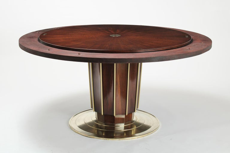 American Regency Style Round Dining Table by Baker with Lazy Susan For Sale