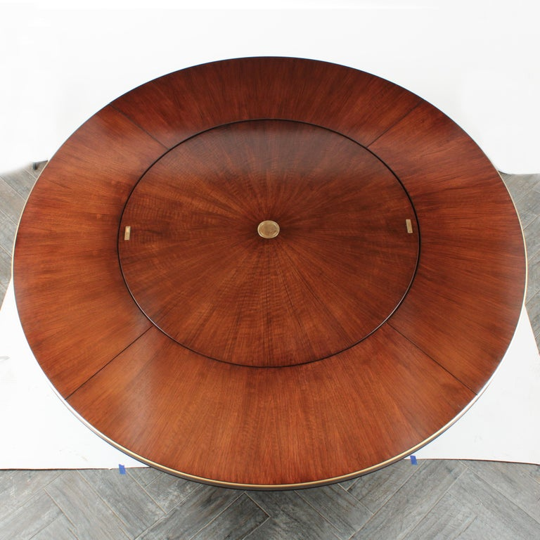 Hand-Crafted Regency Style Round Dining Table by Baker with Lazy Susan For Sale