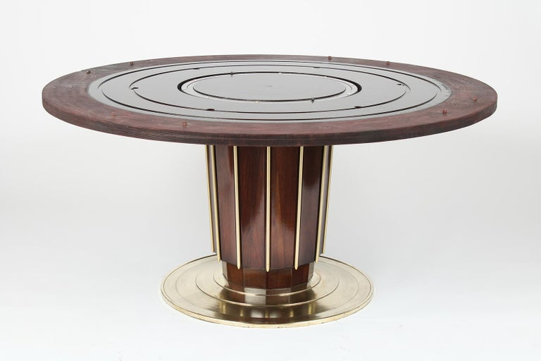 Regency Style Round Dining Table by Baker with Lazy Susan For Sale 2