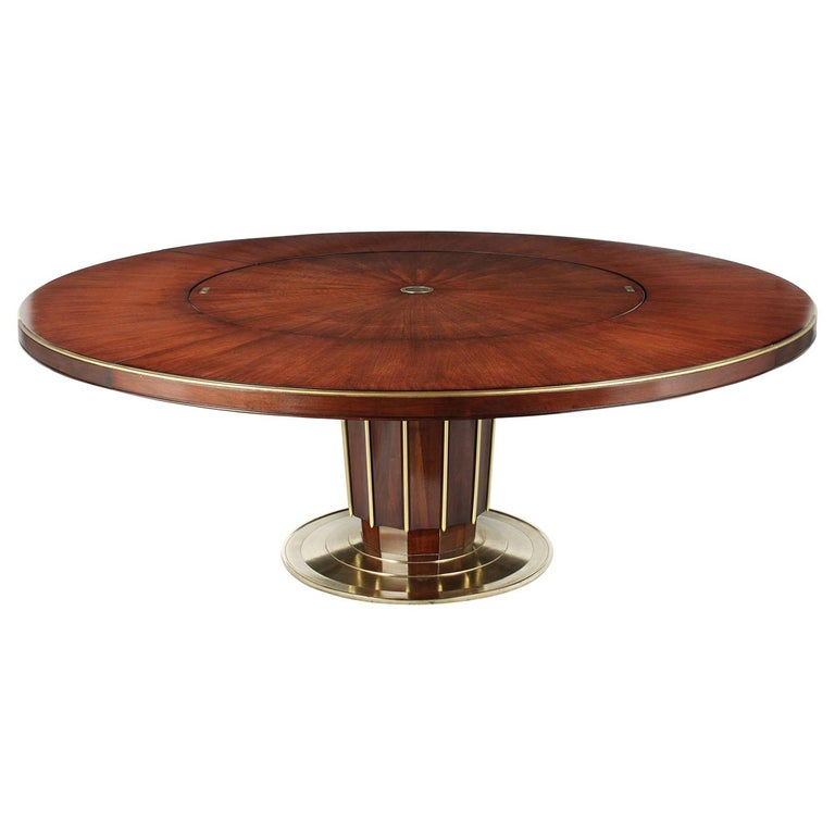 Regency Style Round Dining Table by Baker with Lazy Susan For Sale