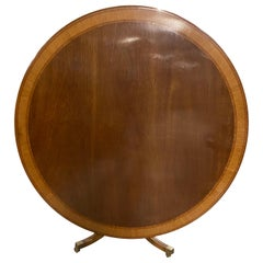 Regency Style Round Tilt-Top Table, Banded Mahogany, Made in England