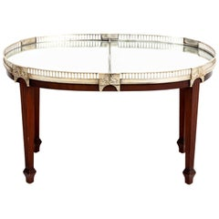 Regency Style Silver Metal Oval Mahogany Coffee Table