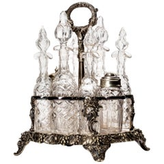 Regency Style Silver Plate and Crystal Cruet Set, James Dixon, Grapevine Motif