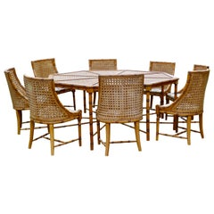 Regency Style Simulated Bamboo and Bergèr Set of 8 Chairs and Octagonal Table