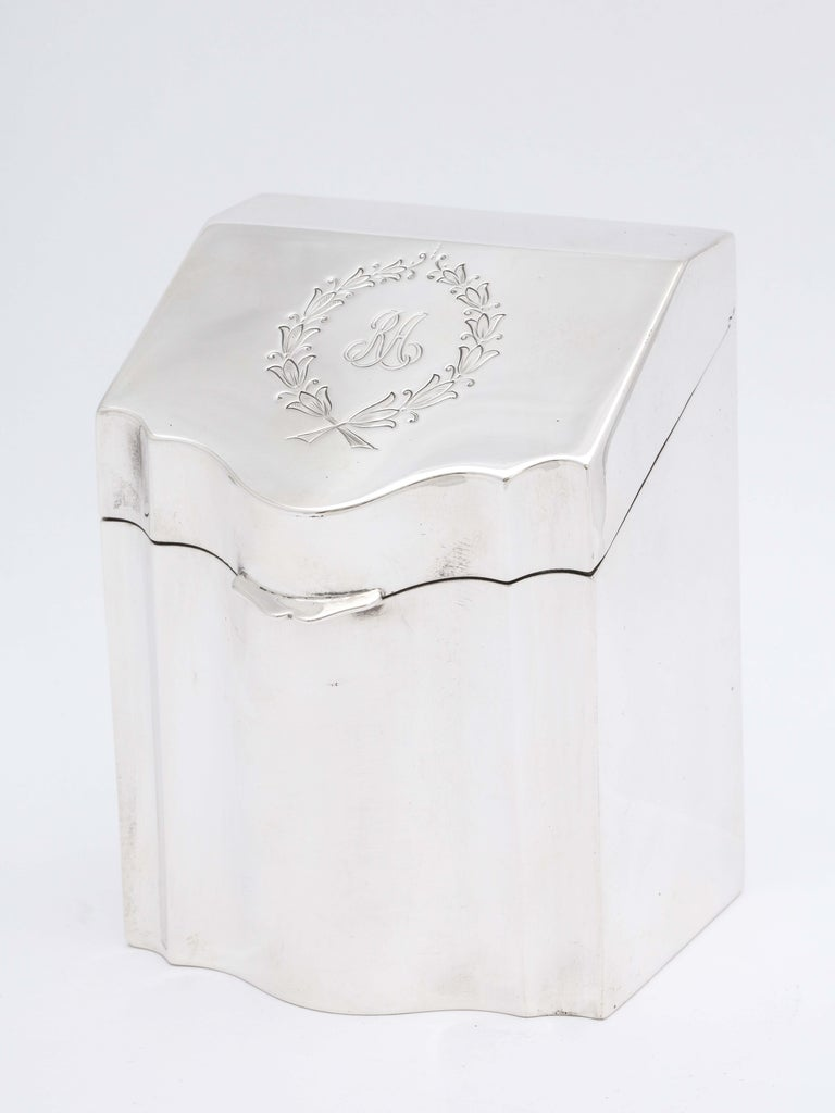 American Regency Style Sterling Silver Knife-Box-Form Tea Caddy with Hinged Lid For Sale